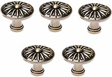 5Pcs Cabinet Knob Flower Pattern Alloy Closet Pull