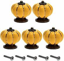 5Pcs Ceramic Pumpkin Door Handle Pulls Cupboard