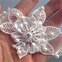 5pcs Flower with Beads Pearl Diamond Voile Based
