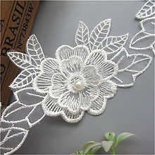 5pcs Flower with Beads Pearl Tulle Based Floral
