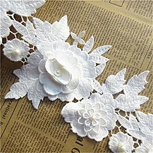 5pcs Flower with Pearl Beads Cotton Crochet Floral