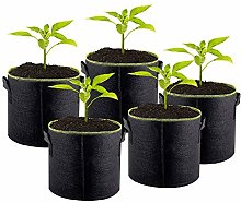 5PCS Plant Grow Bags, Fluorescent Green Edge