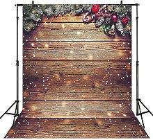5X7FT Snowflake Gold Glitter Christmas Wood Wall