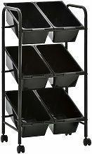 6-Basket Toy Storage Trolley Black Plastic - Black