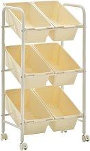 6-Basket Toy Storage Trolley White Plastic - White