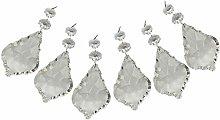 6 Clear Chandelier Drops Droplets Cut Glass
