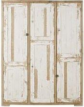 6-door weathered white recycled pine wardrobe