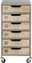 6-drawer desk unit on castors in light grey metal