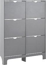 6 Drawer Narrow Shoe Cabinet - Grey