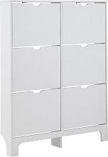 6 Drawer Narrow Shoe Cabinet - White