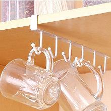 6 Hooks Metal Under Shelf Mug Cup Kitchen Cupboard