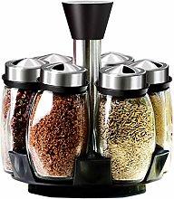 6-Jar Revolving Spice Rack Organizer - Spinning