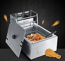 6 L Stainless Steel Commercial Fryer, Large