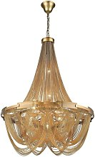 6 Light Chandelier Brass Finish, E14 - Spring