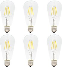 6 Pack Dimmable E27 Screw LED Filament Bulb ST64