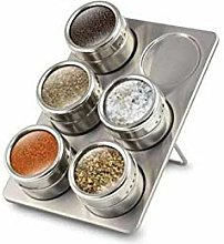 6 Pc Magnetic Herb Spice Rack Tin Jar With Holder