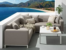 6 Pc Outdoor Sectional Sofa Set Taupe Conversation