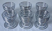 6 PC PIECE SPIRAL CHROME EGG CUP CUPS HOLDER