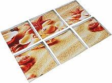 6 pcs 15 x 15cm 3D Starfish Bathtub Sticker - Green PVC stickers for swimming pools - non-slip twill WASHED