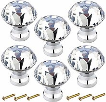6 Pcs 30mm Crystal Glass Drawer Knobs with Screws