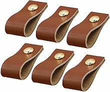 6 pcs Cabinet Handle Pull Leather Knobs Furniture