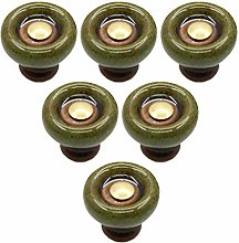 6 pcs Ceramic Cabinet Handles Copper Drawer Knobs