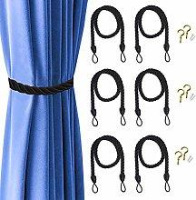 6 Pcs Curtain Ropes Tiebacks, Rope Tie Backs for