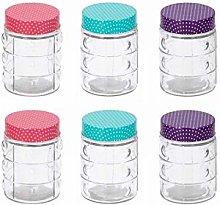 6 PCS Glass Spice Jars With Polka Dot Lid 250ml
