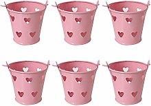 6 Pcs Pink Desktop Bucket Storage Pen Holder, Cute