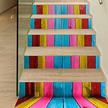 6 Pcs / Set 3D Wooden Stairs Art Sticker Wall