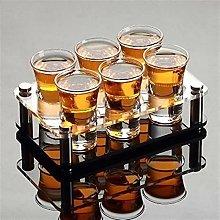 6 Pcs Shot Glass with Holder Liquor White Spirit