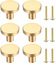 6 Pcs Solid Brass Cabinet Knobs,Round Cabinet