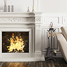 6 Piece Fire Companion Set Iron Fireplace Fireside