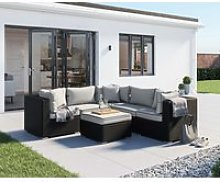 6 Piece Rattan Garden Corner Sofa Set in Black