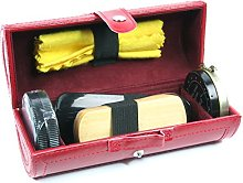 6 Piece Shoe Shine Cleaning Gift Set in Red PU