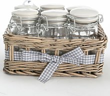 6 Piece Spice Jar Set with Basket Symple Stuff