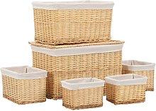 6 Piece Stackable Basket Set Natural Willow - Brown