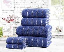 6 Piece Towel Set Symple Stuff Colour: Navy