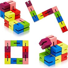 6 Pieces Wooden Twist Cubes Colorful Mind Game