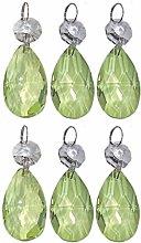 6 Sage Green Oval Chandelier Drops Droplets Cut