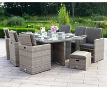 6 Seat Rattan Garden Cube Dining Set in Grey with
