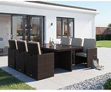 6 Seat Rattan Garden Cube Set in Brown - Barcelona - Rattan Direct