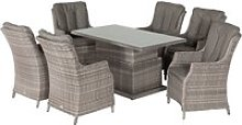 6 Seat Rattan Garden Dining Set With Adjustable