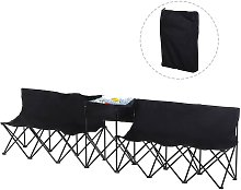6-Seater Chair Bench w/ Cooler Bag Metal Frame