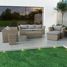 6 Seater Grey Rattan Sofa Chairs Footstool and