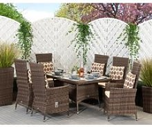 6 Seater Rattan Garden Dining Set With Small