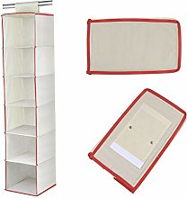 6 Shelf White Hanging Clothes Organiser - Shoe
