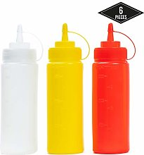 6 Squeeze Bottles with Caps, 340ml, Coloured (Red