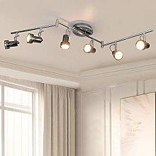 6 Swiveling Heads LED Ceiling Spotlights, Chrome