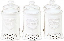6 white porcelain made spices containers set